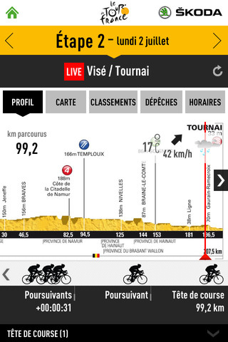 Etape sur l'application