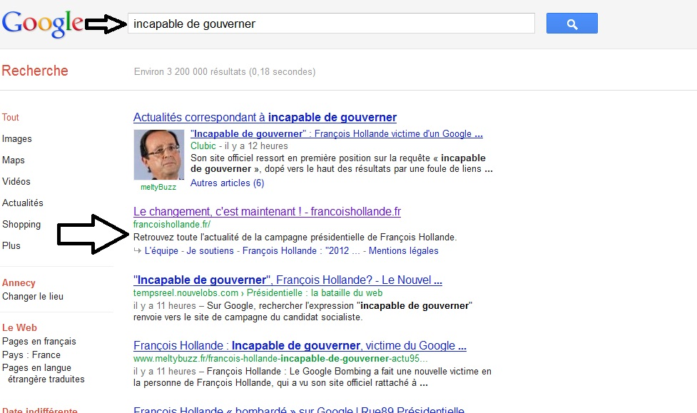 François Hollande INCAPABLE DE GOUVERNER sur Google