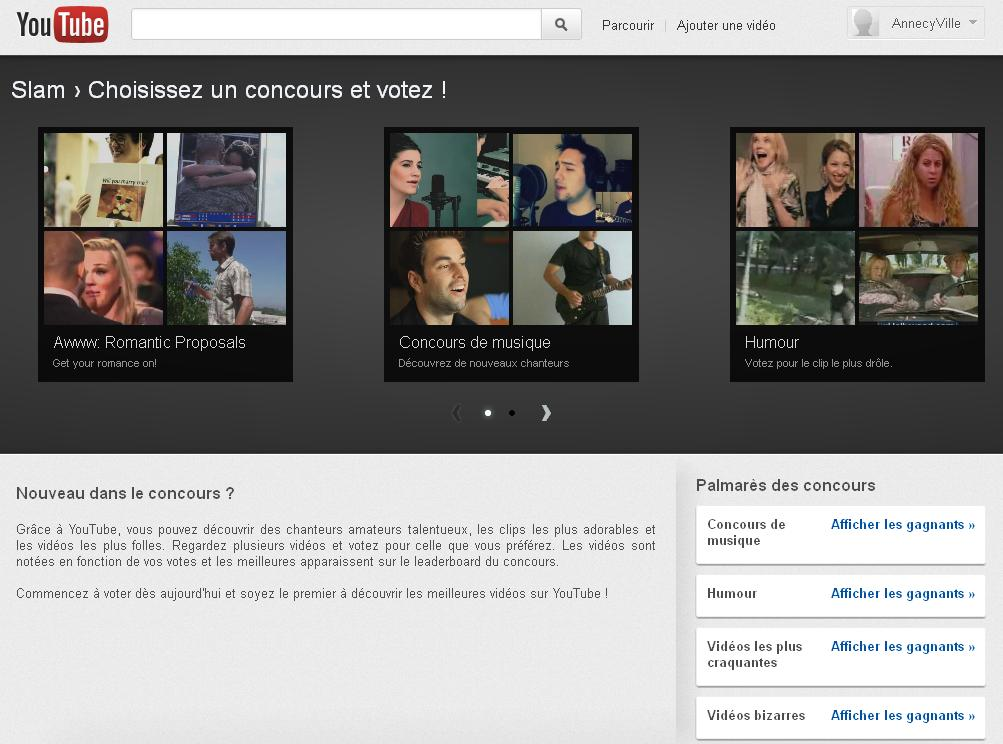 Screen du service Slam sur Youtube