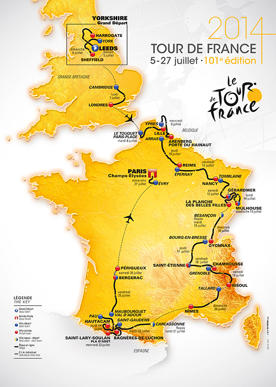 Carte des 21 étapes Tour de France 2014